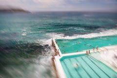 悉尼- 2015年10月:人们享用邦迪滩水池 悉尼在 免版税库存图片