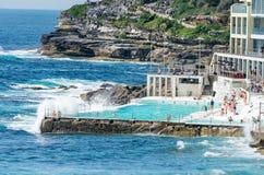 悉尼- 2015年10月:悉尼邦迪滩水池 悉尼吸引 库存图片