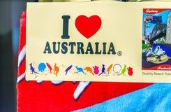 悉尼- 2015年10月:我爱澳大利亚卡片 澳大利亚前 库存照片