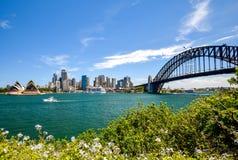 悉尼CBD港口区域的惊人的广角城市地平线视图在环形码头的与歌剧和港口桥梁 免版税库存照片