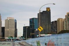 悉尼CBD都市风景视图从港口桥梁的 库存图片