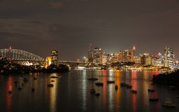 悉尼Cityï ¼ Œ夜视图  库存图片