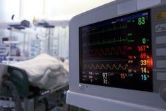 患者时钟监视重症监护病房的 库存图片