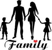 年轻悦目家庭爸爸、妈妈、女儿和儿子 库存例证