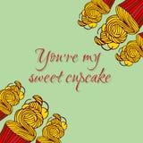 您关于我的甜杯形蛋糕的` 在手中爱与杯形蛋糕被画的样式的贺卡 皇族释放例证