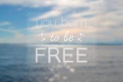 您出生是自由标志有blured背景 与海洋的图片 库存照片