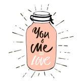 您和我是爱 明信片华伦泰` s天 图象的在一个玻璃瓶子的桃红色心脏有标签的-爱 用手传染媒介例证 库存图片