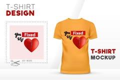 您固定了我的心脏T恤杉设计, 3D心脏传染媒介T恤杉模板 向量例证