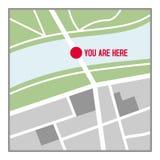 您在这里在白色隔绝的地图平的象 免版税库存图片