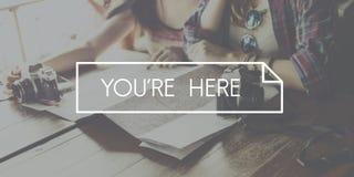 您在这里旅行的旅行概念 免版税库存照片