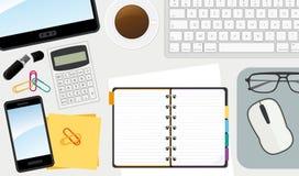 您所有企业需要工作的工作场所 顶视图桌面 免版税图库摄影
