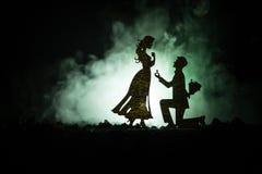 您是否与我结婚?停留在膝盖和提出提议对于他可爱的女孩的年轻人剪影在海滩反对黑暗的t 免版税库存照片