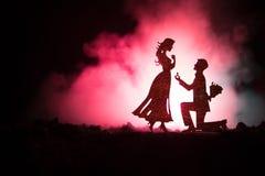 您是否与我结婚?停留在膝盖和提出提议对于他可爱的女孩的年轻人剪影在海滩反对黑暗的t 图库摄影