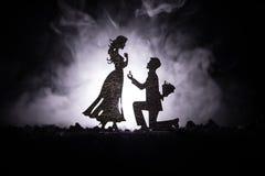 您是否与我结婚?停留在膝盖和提出提议对于他可爱的女孩的年轻人剪影在海滩反对黑暗的t 库存照片
