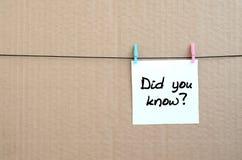 您是否知道?笔记在垂悬的一个白色贴纸被写 免版税图库摄影