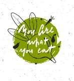您是您的什么吃 手字法海报 库存例证