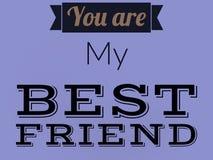 您是我的在黑色的最好的朋友线在紫色背景 库存照片