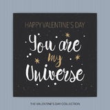 您是我的宇宙-浪漫传染媒介印刷术 免版税库存照片