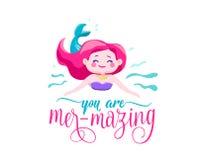您是梅尔mazing 美人鱼小女孩,波浪 启发行情关于夏天 印刷品的,海报印刷术设计 库存图片