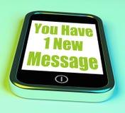 您有在电话手段新的邮件的1则新的消息 免版税库存照片
