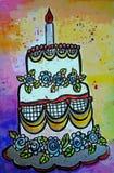 您生日明亮的蛋糕eps10例证明信片空间文本的向量 免版税库存图片