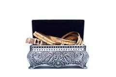 在被张开的银色古色古香的胸口的豪华金镯子 库存例证