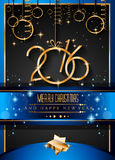 2016年您的圣诞晚餐的新年快乐背景 皇族释放例证