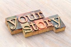 您的在木类型的故事词摘要 免版税库存图片