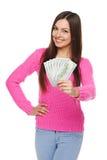 给您的妇女美元金钱 库存图片
