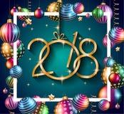 2018年您的季节性飞行物的新年快乐背景 免版税库存照片