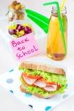 您的孩子的Bento午餐在学校,有一健康sandwic的箱子 图库摄影