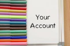 您的帐户文本概念 库存照片