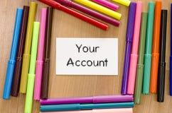 您的帐户文本概念 库存图片