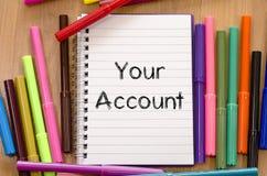 您的帐户文本概念 免版税库存图片