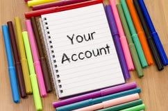 您的帐户文本概念 免版税库存照片