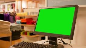 您的广告的绿色广告牌在屏幕上 库存图片