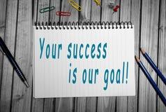您的成功是我们的目标! 库存照片