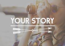 您的故事生活片刻记忆概念 免版税库存图片