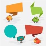 您的文本的五颜六色和装饰的纸横幅 逗人喜爱的鸟 库存照片