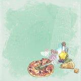 您的文本的意大利背景与比萨、薄饼、乳酪和橄榄塔的图象  免版税库存照片