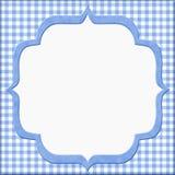 您的消息或邀请的蓝色方格花布婴孩框架 免版税库存照片
