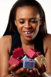 您的许多五颜六色的礼物。 免版税库存照片
