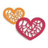您的设计的两传染媒介纸心脏 免版税库存图片