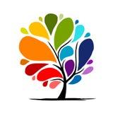 您的设计的抽象彩虹树 免版税库存照片