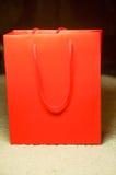 您的设计的红色纸袋 免版税库存照片