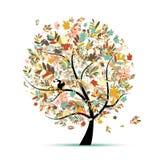 您的设计的美丽的秋天结构树 库存例证