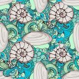 您的设计的美好的贝壳样式 库存图片