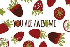 您的设计的草莓手拉的彩色插图:袋子, T恤杉,墙纸 库存照片