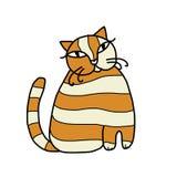 您的设计的逗人喜爱的镶边猫 免版税库存图片