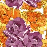 您的设计的逗人喜爱的黄色和紫罗兰色花郁金香无缝的样式 库存例证